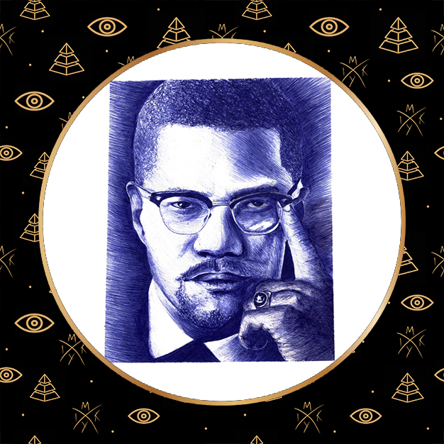 ritratto a penna Malcom X by Miky Ink