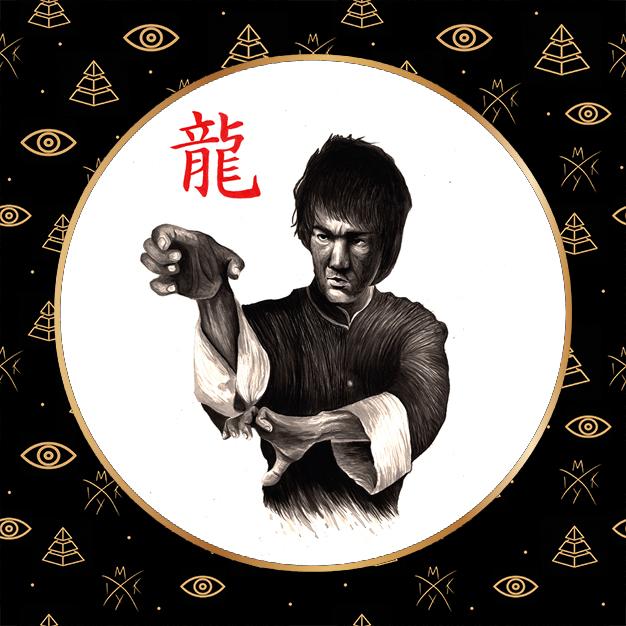 ritratto sumi-e Bruce Lee