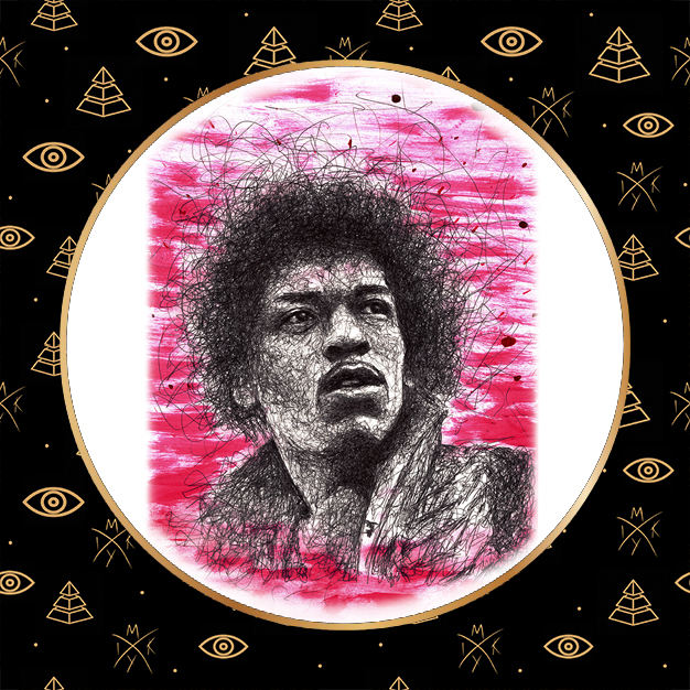 Ritratto scribble Jimi Hendrix by Miky Ink