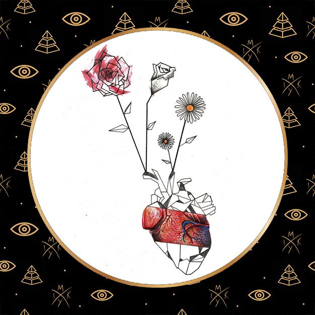 cuore con fiori tecnica mista
