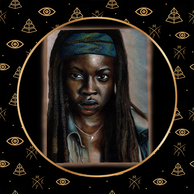 ritratto matite colorate Michonne by Miky Ink