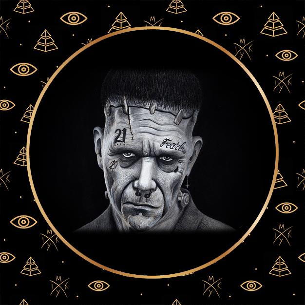 ritratto Frankenstein con gesso