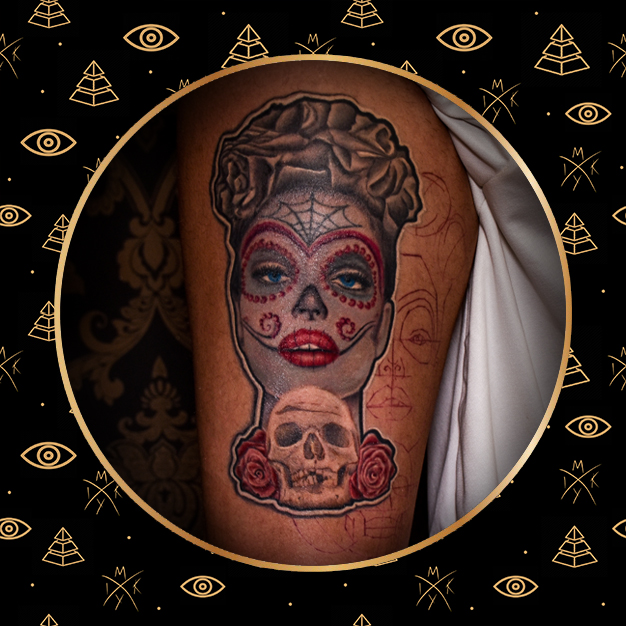 Catrina messicana in stile misto fatto da MIky Ink Tattoo